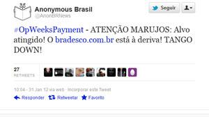 No Twitter, grupo diz ser responsável pela queda do site do banco (Foto: Reprodução/Twitter)