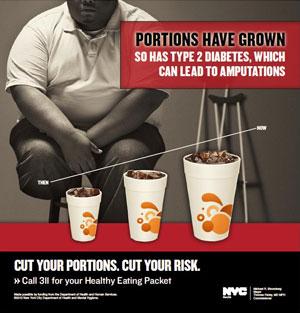 """""""As porções aumentaram, e a diabetes tipo 2 também"""", diz o anúncio da prefeitura de Nova York (Foto: Divulgação)"""