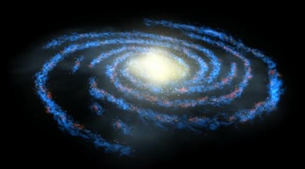 A Via Láctea, galáxia onde está o Sol, localizado em um dos braços espirais. (Foto: Nasa / Reprodução)