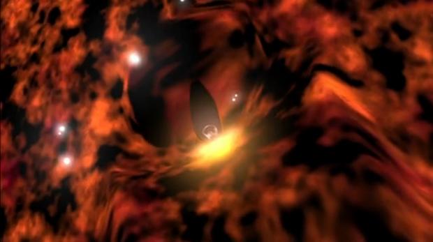 Matéria interestelar circunda a 'bolha' que envolve o Sol (meio da imagem). (Foto: Nasa / Reprodução)