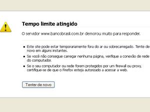 Site do Banco do Brasil ficou indisponível em alguns momentos (Foto: Reprodução)