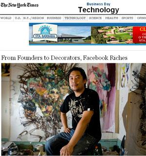 David Choe recebeu ações do Facebook para pintar a primeira sede da rede social na Califórnia (Foto: Reprodução/The New York Times)