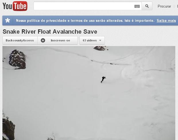 Vídeo que flagrou a avalanche foi publicado para incentivar o uso de equipamento de proteção (Foto: Reprodução)