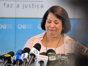 A corregedora nacional de Justiça, ministra Eliana Calmon, se emocionou nesta sexta-feira (3) ao comentar julgamento do CNJ no STF. (Foto: Fabio Rodrigues Pozzebom/Agência Brasil)