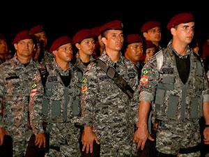 Força Nacional chega a Salvador com 150 homens para reforçar segurança (Foto: Imagem/TV Bahia)