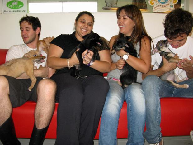 José Neto, Aline Aragoni, Tatiana Tiemi e Victor Guisller participaram de resgate dos filhotes (Foto: Fabiano Correia/ G1)