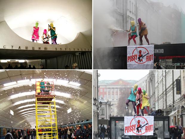Quatro apresentações da banda (em sentido horário): ma estação de metrô Borovitskaya, sobre o teto de um café de classe alta, no centro de Moscou, sobre o display de um carro de luxo e em um andaime dentro de estação do metrô  (Foto: Divulgação / Pussy Riot)