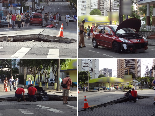 parte do asfalto da Avenida Iguaçu, em Curitiba, se elevou por volta das 17h deste sábado (4) (Foto: G1)