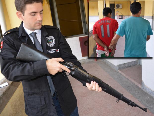 Fuzil é apreendido na Paraíba (Foto: Walter Paparazzo/G1 PB)