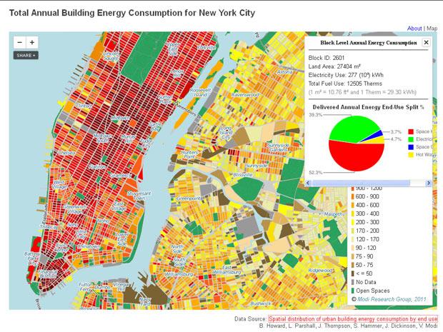Áreas comerciais são as que mais gastam energia e aparecem em vermelho escuro no mapa (Foto: Reprodução)