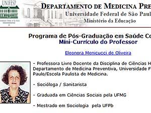 Prefil de Eleonora Menicucci no site da Unifesp (Foto: Reprodução)