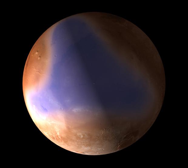 Ilustração mostra como seria o hemisfério norte de Marte, ocupado por oceanos no passado. (Foto: C. Carreau / ESA)