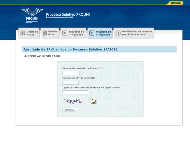 Tela para consulta dos aprovados no Prouni  (Foto: Reprodução)