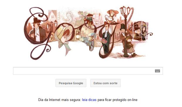 Google muda logotipo para homenagear bicentenário do escrito Charles Dickens (Foto: Reprodução)