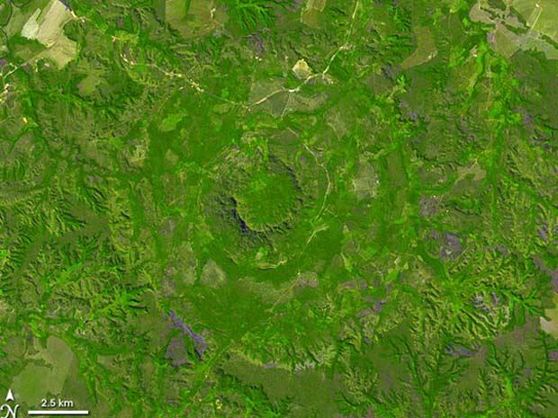 Imagem da Nasa mostra o local onde caiu o meteorito (Foto: Divulgação/Nasa)