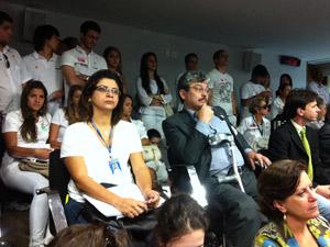 Profissionais de saúde acompanharam votação do ato médico na CCJ da Câmara (Foto: Natalia Godoy / G1)