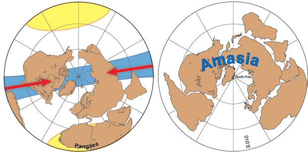 Ilustração mostra movimento dos continentes atuais para formar Amásia. À esquerda, o deslocamento na direção do Polo Norte. Ao lado, o resultado final do encontro. (Foto: Nature / Divulgação)