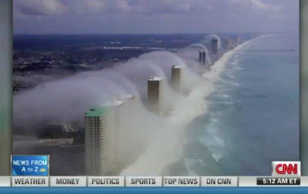 Piloto flagrou 'ondas de nuvens' atingindo prédios em Panama City. (Foto: Reprodução)