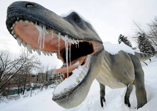 Escultura de um Tiranossauro Rex exibe 'presas de gelo'.  (Foto: Elvis Barukcic/AFP)
