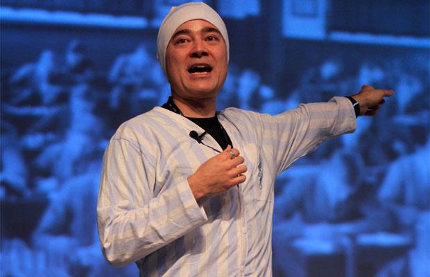 Executivo da Wikipédia discursa de pijama na Campus Party (Foto: Cristiano Sant'Anna/Divulgação)