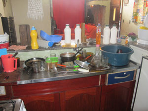 Sem caixa d'água, louça se acumulou na casa de Maria Regiane (Foto: Juliana Cardilli/G1)