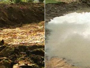 Montagem antes e depois da chuva em Canguçu, RS (Foto: Reprodução / RBS TV)