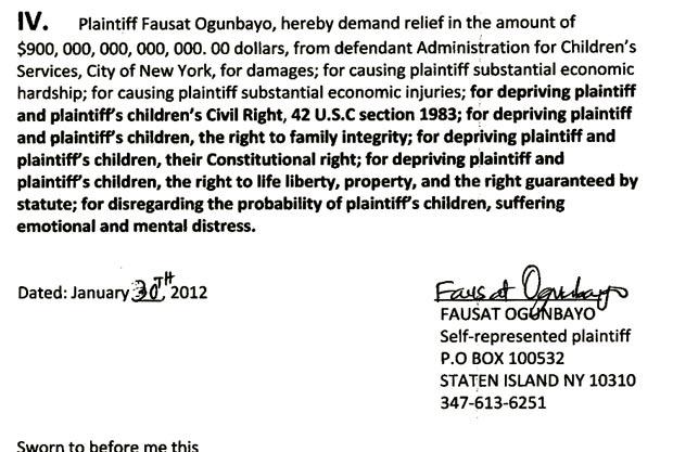 Fausat Ogunbayo pede US$ 900 trilhões de indenização. (Foto: Reprodução)