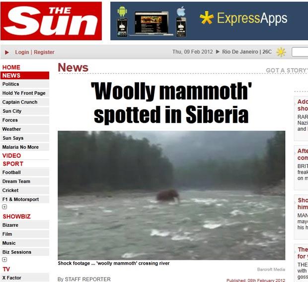 Russo alega ter filmado em um rio na Sibéria um animal que se parece a um mamute. (Foto: Reprodução/The Sun)