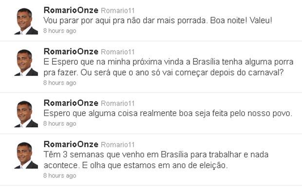 Reprodução de posts do perfil de Romário no Twitter (Foto: Reprodução)