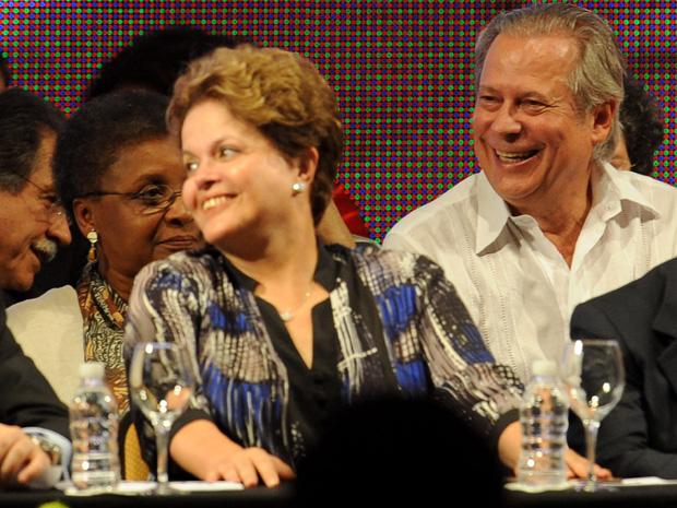 A presidente Dilma Rousseff e o ex-ministro José Dirceu na cerimônia comemorativa dos 32 anos do PT (Foto: Pedro Ladeira / Frame / Agência Estado)