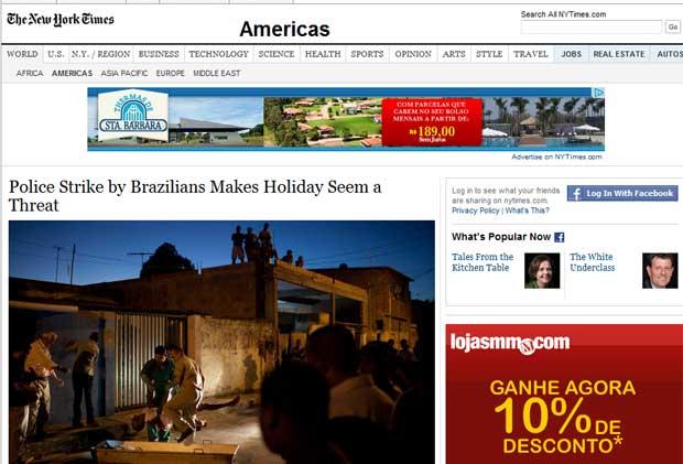 O New York Times, em matéria de Simon Romero, relata que, após dez dias de greve da polícia na Bahia, o temor é que a paralisação ocorra também no Rio de Janeiro. 'Uma greve poderia ser ainda mais tumultuada no Rio, especialmente durante o Carnaval no final do mês, quando multidões de turistas tomam as ruas e os crimes violentos são uma preocupação mesmo quando a polícia está trabalhando normalmente' (Foto: Reprodução)