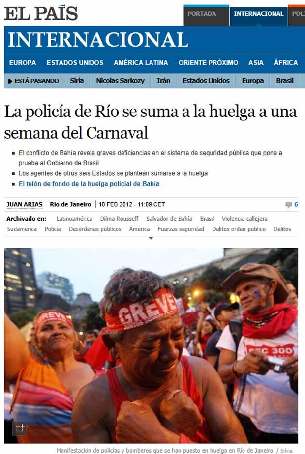 O espanhol 'El País' afirma que a greve poderia se estender para mais 6 estados (Foto: Reprodução)