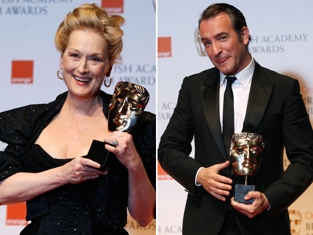Meryl Streep ('A dama de ferro') e Jean Dujardin ('O artista), escolhidos melhor atriz e ator no Bafta (Foto: Reuters)