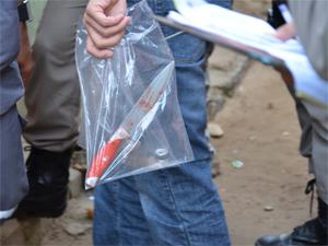 Arma usada no crime foi uma faca (Foto: Walter Paparazzo/G1)