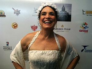 Regina Duarte veio pela primeira vez ao Carnaval capixaba (Foto: Amanda Monteiro/G1 ES)