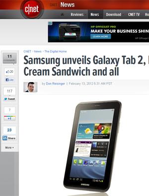 Imagens do Galaxy Tab 2 divulgadas pelo site Cnet (Foto: Reprodução)