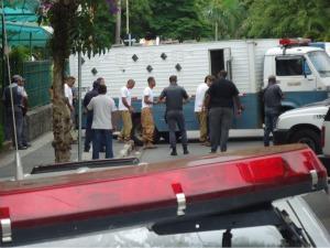 Na audiência de sexta passada (10), 70 policiais foram usados para evitar resgates de presos. (Foto: Mayco Geretti/ G1)