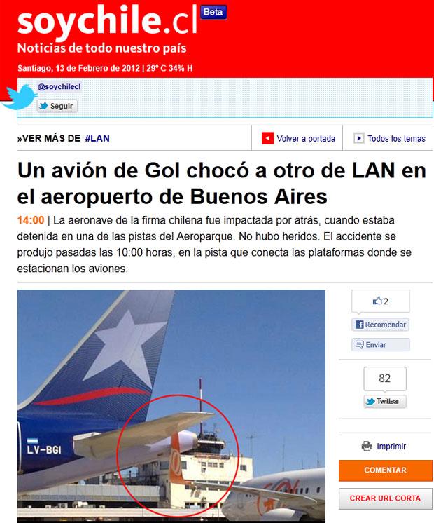Site noticioso chileno exibiu imagem que seria do choque entre as aeronaves (Foto: Reprodução/Soy Chile)