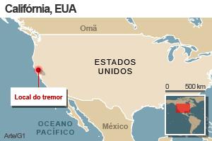 Mapa - tremor na Califórnia (Foto: Editoria de Arte/G1)