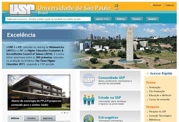 Portal da USP, lançado em outubro de 2011 (Foto: Reprodução)