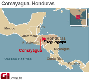 mapa incêndio honduras (Foto: Arte G1)