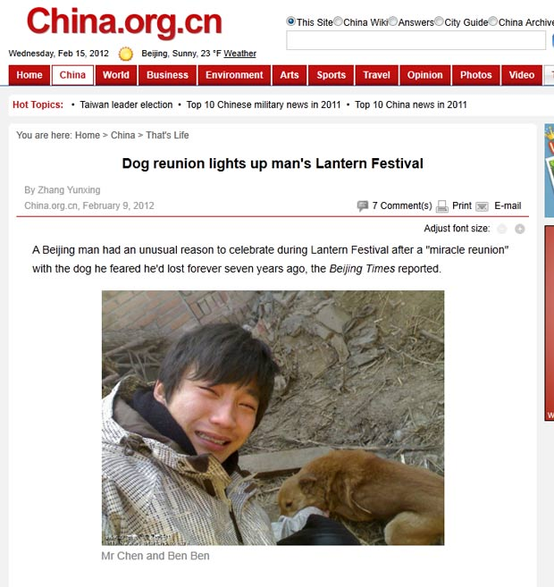 Chen reencontrou seu cão de estimação após 7 anos. (Foto: Reprodução)