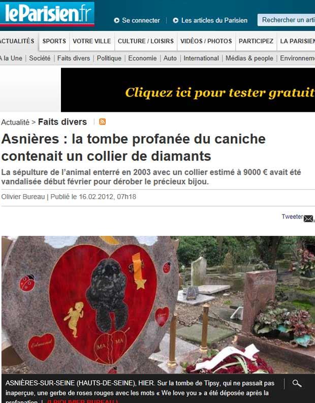 Túmulo de Tipsy em imagem publicada por jornal francês (Foto: Reprodução)