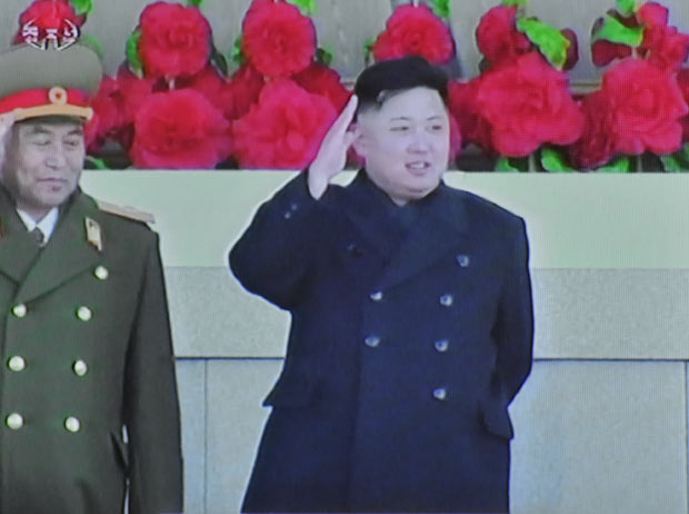 O líder norte-coreano Kim Jong-un durante as celebrações desta quinta-feira (16) em Pyongyang (Foto: AP)