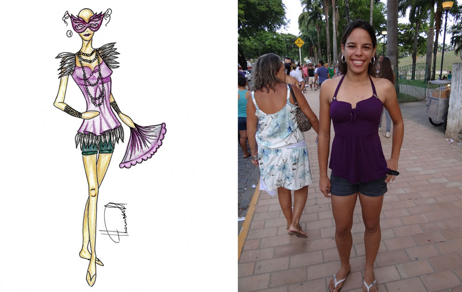 Thamires Pontes se inspirou no carnaval veneziano para transformar a roupa da foliã Rachel Domingo. A blusa recebeu apliques de penas, que custam cerca de R$9, a unidade. O look leva colar e pulseiras de pérolas, leque e máscara.