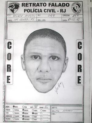 Retrato falado do suspeito de estupro divulgado pela Polícia Civil (Foto: Divulgação)