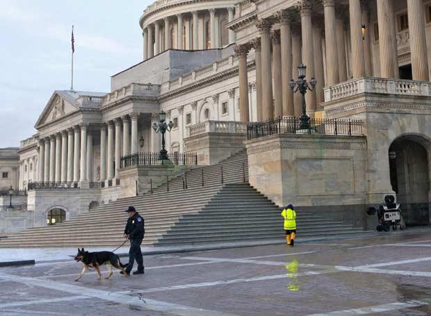 Policial e cão patrulham a região do Capitólio nesta sexta-feira (17) em Washington (Foto: AP)