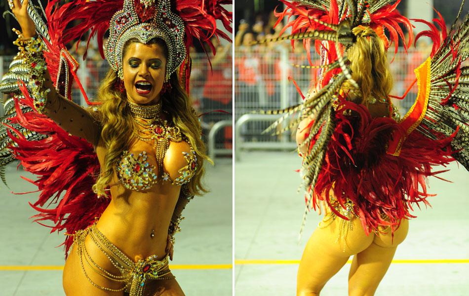 A ex-BBB Cacau, musa da escola de samba Dragões da Real, diz que a ficou surpreendida com a fantasia, que valorizou seu bumbum e os seios.