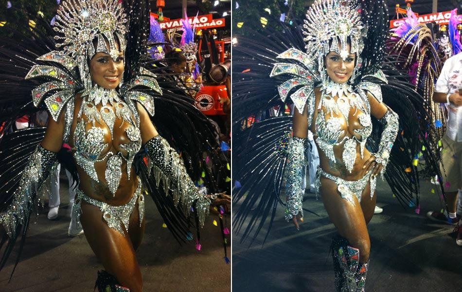 Andrea Machado, musa da Renascer, que abriu o desfile do Grupo Especial na Sapucaí.