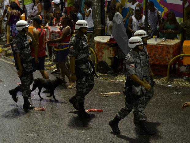 Cachorrinho que segue policiais militares na ronda do carnaval em Salvador ainda não recebeu apelido ou nome por parte dos soldados e oficiais (Foto: Eduardo Freire/G1)